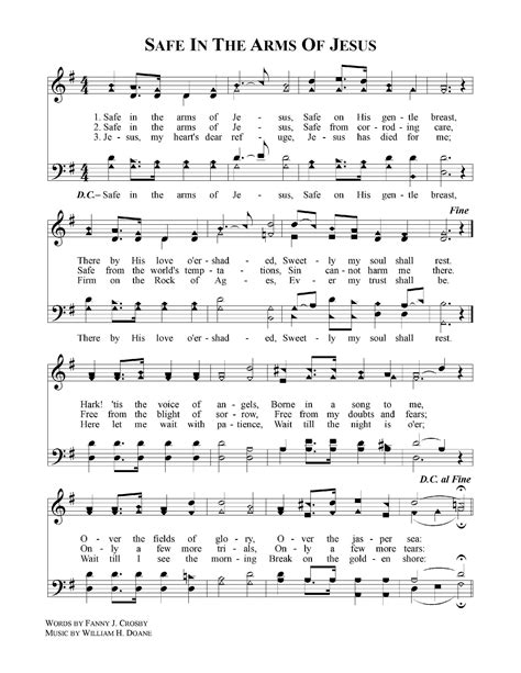 Safe In The Arms Of Jesus Piano  music sheet