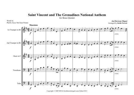 Saint Kittitian And Nevisian National Anthem Land Of Beauty For Brass Quintet  music sheet