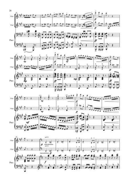 Saint Saens Pas Redouble Op 86 2 Violins Violin Duo Violin Group Piano  music sheet