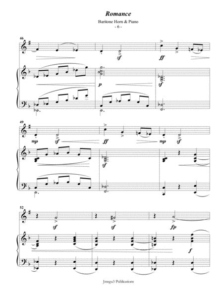Saint Saens Romance For Baritone Horn Piano  music sheet