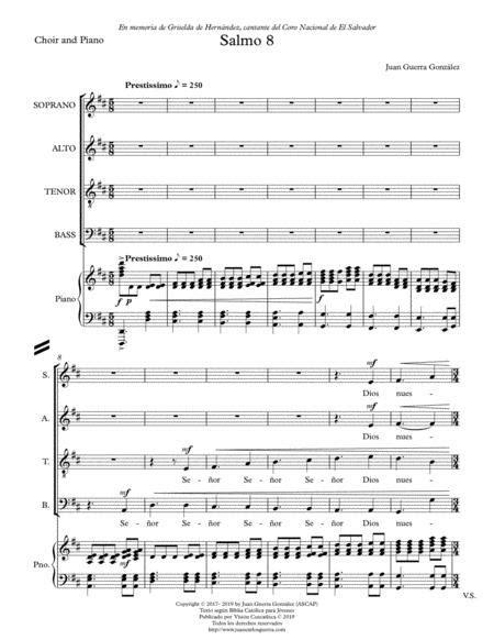Salmo 8 Partitura Coral Choral Score  music sheet