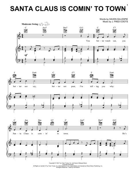 Santa Claus Is Comin To Town Easy Key Of C Bassoon  music sheet