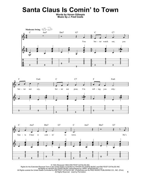 Santa Claus Is Comin To Town For Easy Guitar Quartet  music sheet