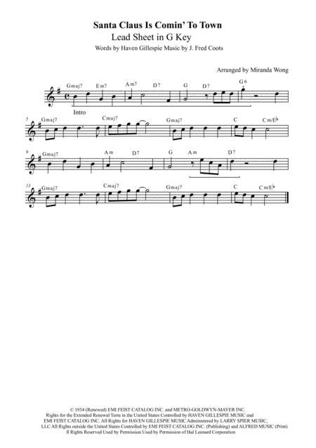 Santa Claus Is Comin To Town Lead Sheet In G Key Female Vocal  music sheet