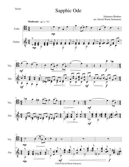 Sapphic Ode For Cello And Guitar  music sheet
