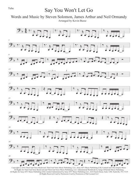 Say You Wont Let Go Tuba  music sheet