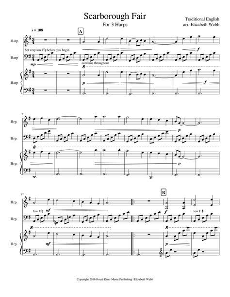 Scarborough Fair Harp Voice D Minor  music sheet