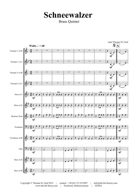 Schneewalzer Oktoberfest Brass Quintet Arrangement Thomas H Graf music sheet
