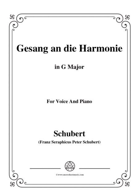 Schubert An Die Harmonie Gesang An Die Harmonie D 394 In G Major For Voice Piano  music sheet