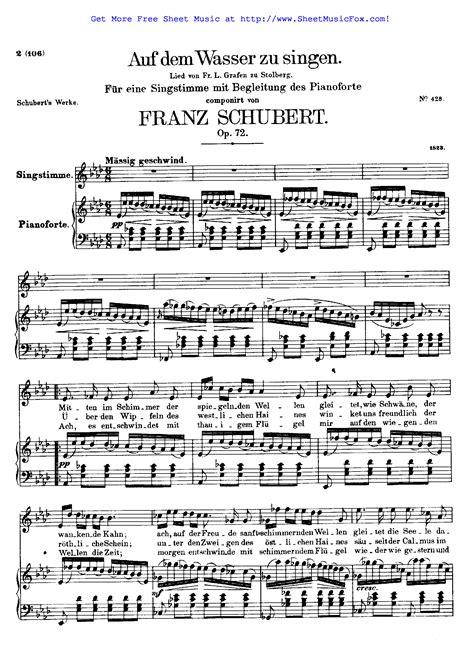 Schubert Auf Dem Wasser Zu Singen In G Major For Voice And Piano  music sheet