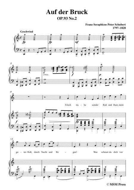 Schubert Auf Der Bruck Op 93 No 2 In C Major For Voice Piano  music sheet