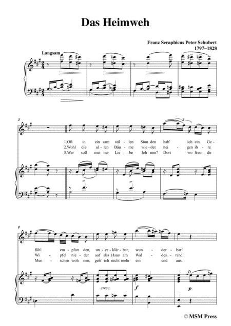 Schubert Das Heimweh In D Major For Voice Piano  music sheet