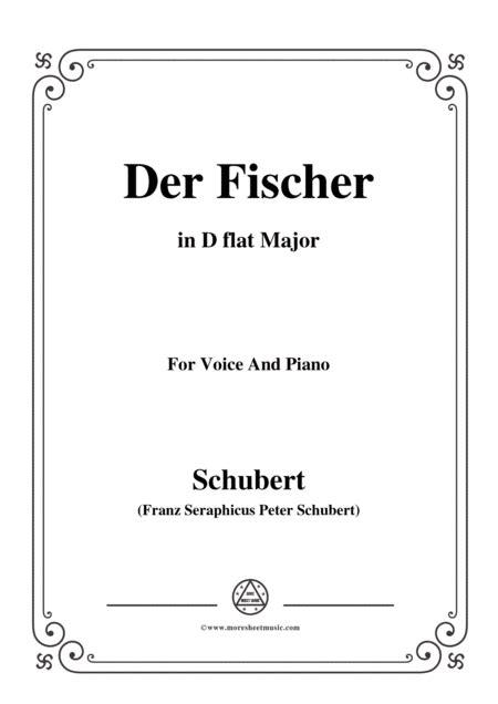 Schubert Der Fischer In D Flat Major Op 5 No 3 For Voice And Piano  music sheet