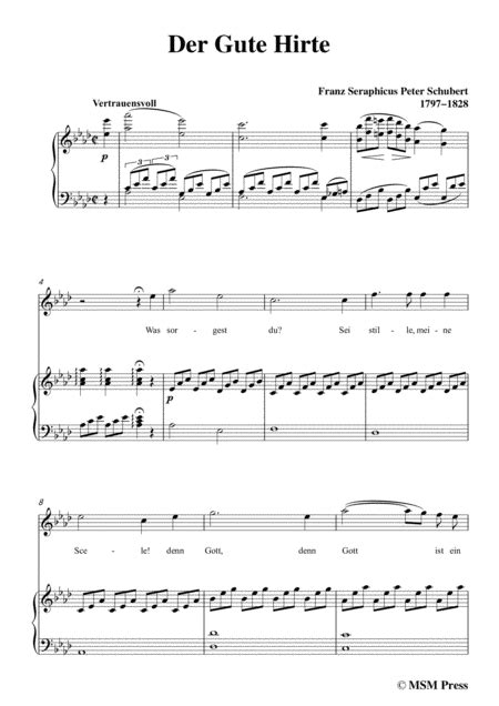 schubert der gute hirte in e major for voice piano music sheet