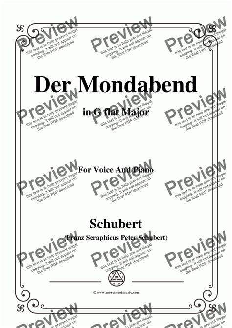 Schubert Der Mondabend Op 131 No 1 In G Flat Major For Voice Piano  music sheet