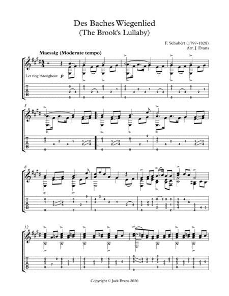 Schubert Des Baches Wiegenlied For Voice And Guitar  music sheet