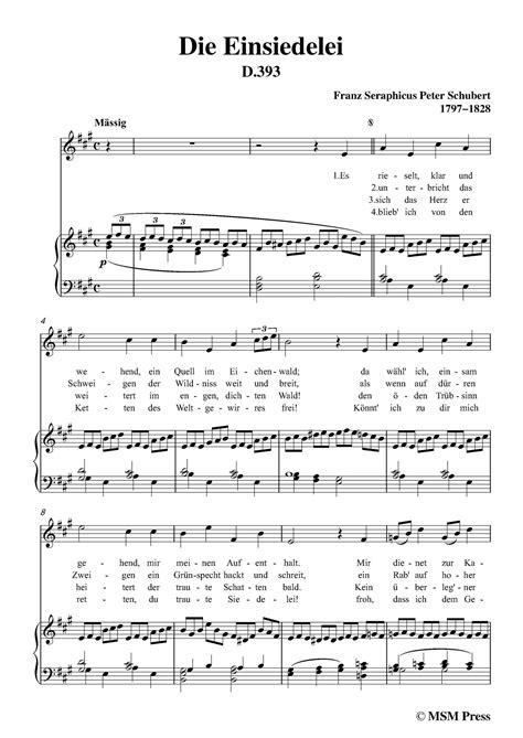 Schubert Die Einsiedelei The Hermitage In A Flat Minor D 563 For Voice Piano  music sheet