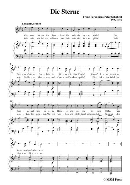 Schubert Die Sterne In A Flat Major For Voice Piano  music sheet
