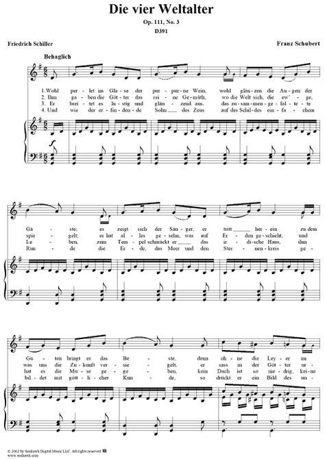 Schubert Die Vier Weltalter Op 111 No 3 In F Major For Voice Piano  music sheet