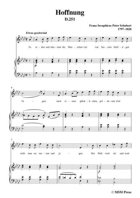 Schubert Hoffnung In A Major For Voice Piano  music sheet