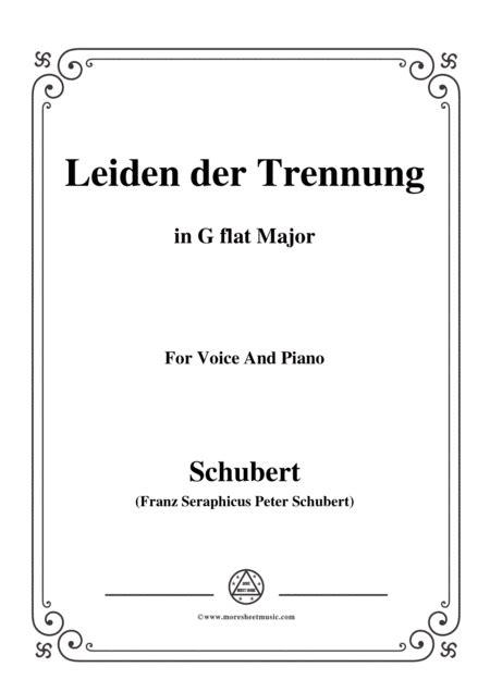 Schubert Leiden Der Trennung In G Major For Voice Piano  music sheet