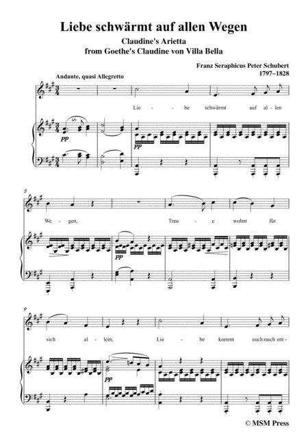Schubert Liebe Schwrmt Auf Allen Wegen In D Major For Voice Piano  music sheet