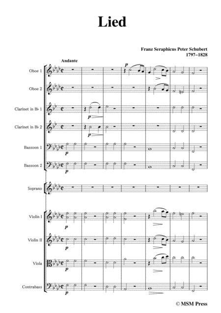 Schubert Lied In A Flat Major For For Woodwinds Strings And Voice  music sheet