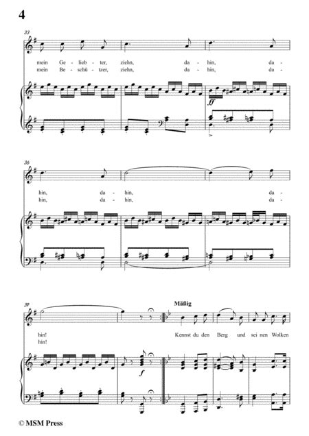 Schubert Mignons Gesang In G Major For Voice Piano  music sheet