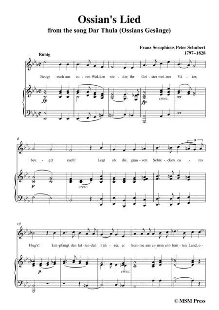 Schubert Ossians Lied In F Major For Voice And Piano  music sheet