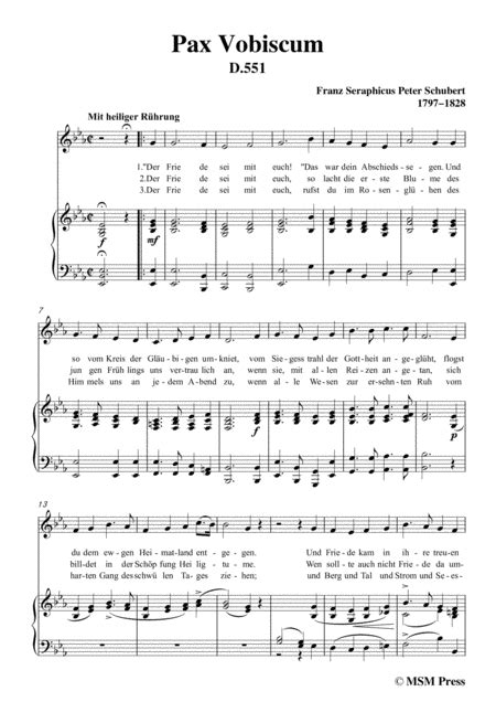 Schubert Pax Vobiscum In E Major For Voice And Piano  music sheet