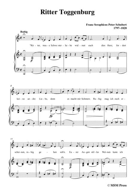 Schubert Ritter Toggenburg In C Major For Voice Piano  music sheet