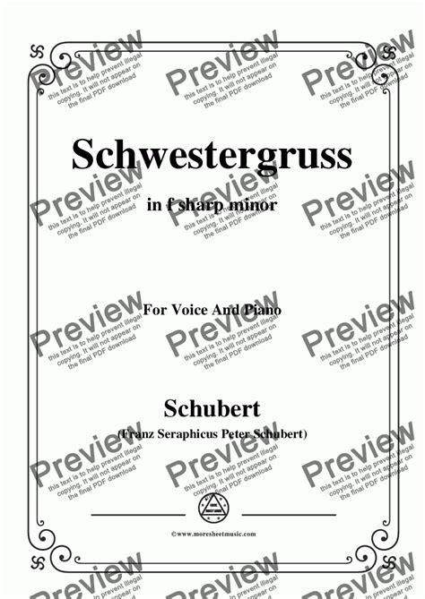 Schubert Schwestergruss In F Sharp Minor For Voice Piano  music sheet