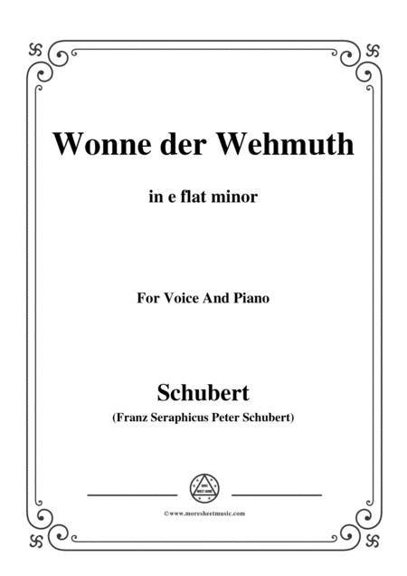 Schubert Wonne Der Wehmuth Op 115 No 2 In C Minor For Voice Piano  music sheet