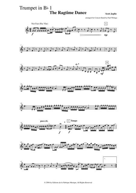 Scott Joplin The Ragtime Dance Arranged For Concert Band By Paul Wehage Bb Trumpet 1 Part  music sheet