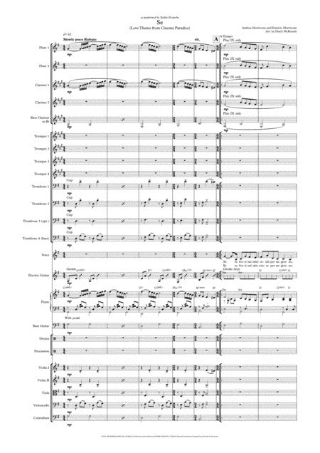 se love theme from cinema paradiso female vocal with big band and optional strings key of a music sheet