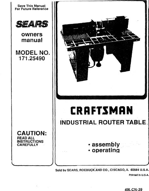 free download ebooks Sears Craftsman Router Manual.pdf