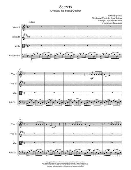 Secrets String Quartet For String Quartet  music sheet