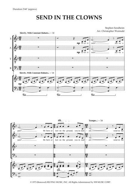Send In The Clowns Arr Christopher Wormald  music sheet