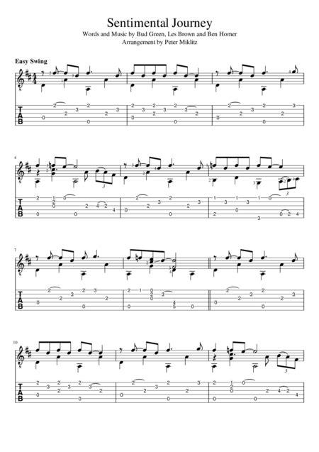 Sentimental Journey Standard Notation And Tab  music sheet