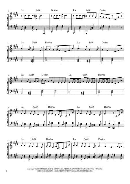 Senza Pensieri Rovazzi  music sheet