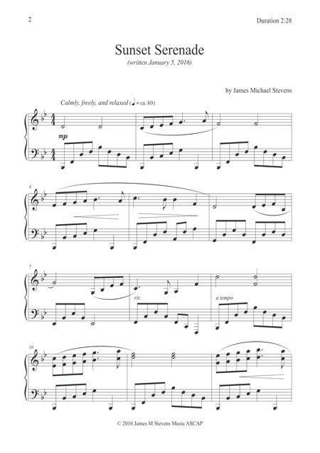 Serenade At Sunset Romantic Piano  music sheet