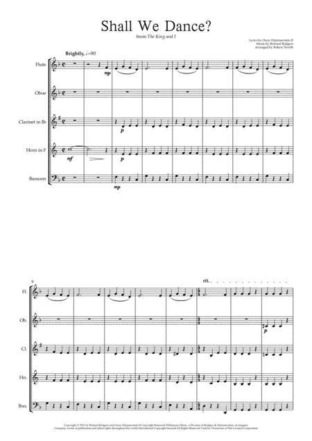 Shall We Dance From The King And I For Wind Quintet  music sheet