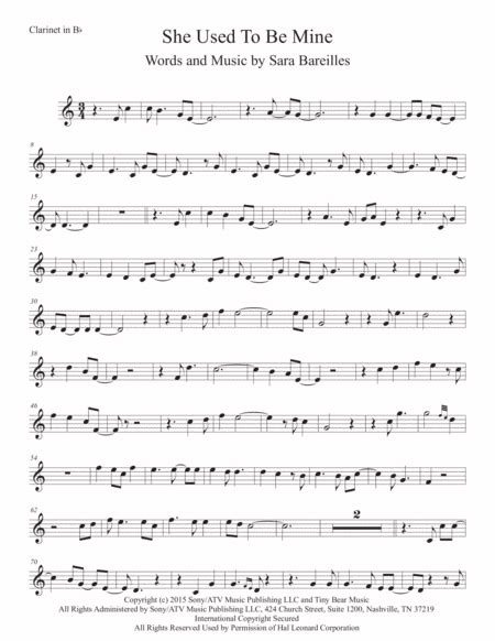 She Used To Be Mine Easy Key Of C Alto Sax  music sheet