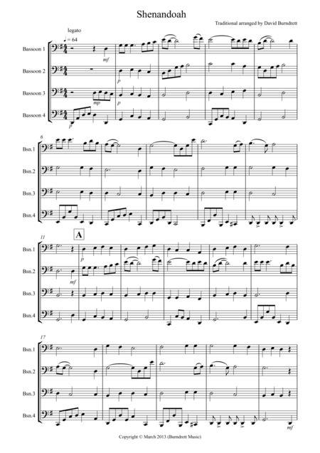 shenandoah for bassoon quartet music sheet