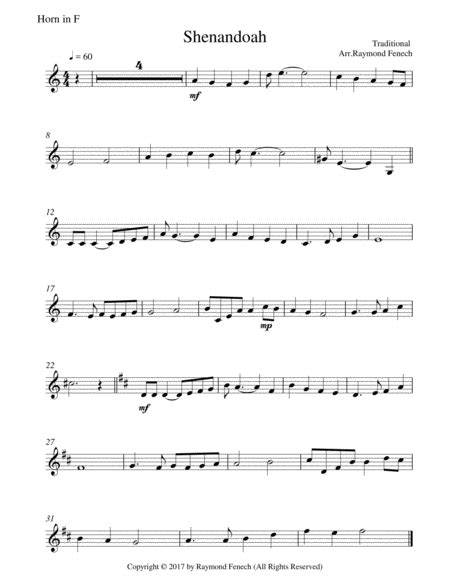 Shenandoah For Brass Quintet 3 Trumpets In B Flat Horn In F And Tuba  music sheet