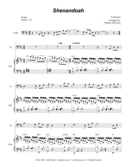 Shenandoah For Cello Solo And Piano  music sheet