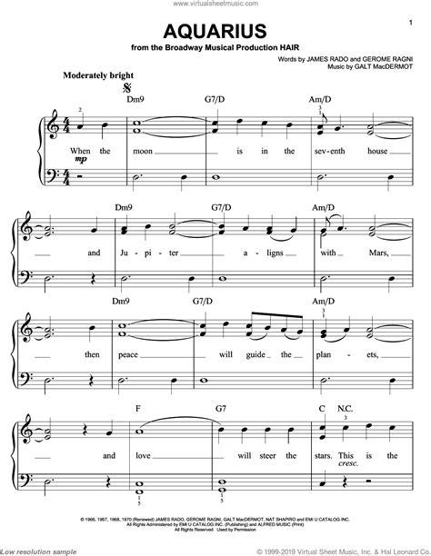 Short Ez Piano 285 Aquarius The Fifth Dimension  music sheet