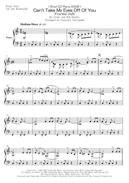 Short Ez Piano 306 Cant Take My Eyes Off Of You  music sheet