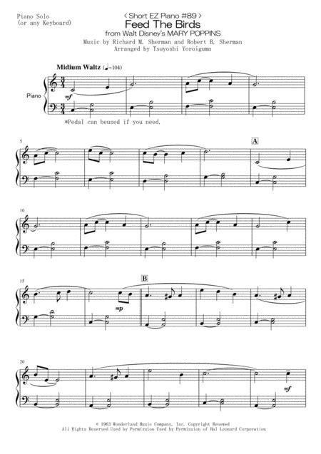 Short Ez Piano 89 Feed The Birds From Walt Disneys Mary Poppins  music sheet