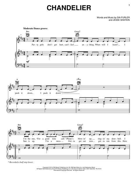 Sia Chandelier Piano  music sheet
